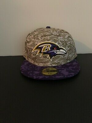 brand new e0af7 07cc3 New Era Baltimore Ravens Salute To Service 59FIFTY Fitted Hat NEW Sz 7 1 8