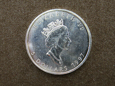 1997 1 oz Silver Maple Leaf Coin $5 Canada Coin Low Mintage Key Date 9999 Fine