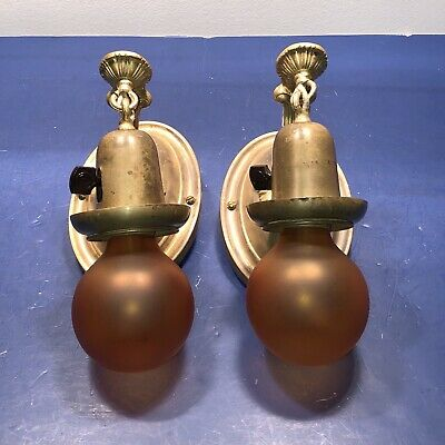 Pair of early antique brass sconces with original patina Rewired 75A