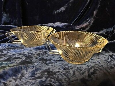Vintage Federal Glass Diana 2 Soup Bowls