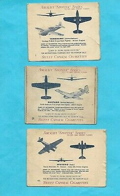Nine Card Lot Of 1941 Sweet Caporal Cigarettes Airplane Cards * Off Grade *