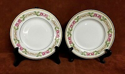 (2) Wm. Guerin & Co. Limoges France ~ Bread Plates Rose & Vine Floral Gold Rim