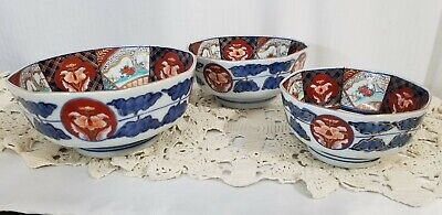 ARITA WARE 8 sided nesting bowls signed 7-6 -5 inch HIZEN  Japanese porcelain