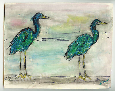 Whimsical pastel & ink drawing of  imaginary blue & green herons signed original