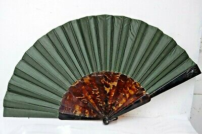 Fine Quality Hand Fan Faux Tortoise Shell Slats Royal Crest ? - Very Rare - L@@k