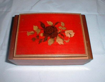 Vintage Reuge Musical Jewelry Box Inlaid Wood Romeo & Juliet Swiss Movement