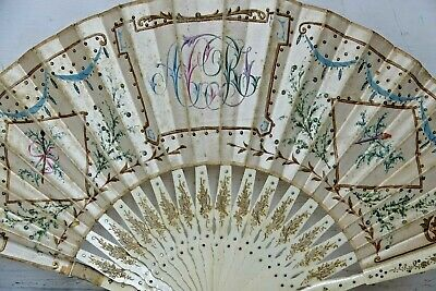 Fine Quality Hand Fan With Hand Painted Decoration In Box- Very Rare - L@@k