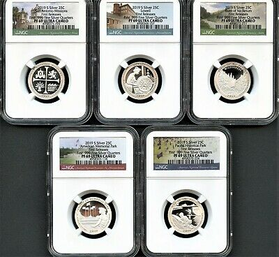 2019 S First .999 Fine Silver Quarter Set FIRST RELEASES NGC PF69 Ultra Cameo *