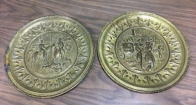 VTG Brass Decorative Wall Plates Embossed 3D Made in England 12""