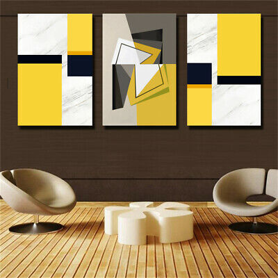 Black and Yellow Geometric Abstraction 3 Piece Canvas Print Wall Art Unframed
