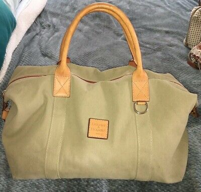 Dooney & Bourke Khaki Olive Canvas Duffle Bag Carryon Travel Bag