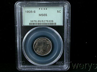1935-S BUFFALO NICKEL 5 CENTS 5c PCGS MS 65 OLD GREEN HOLDER