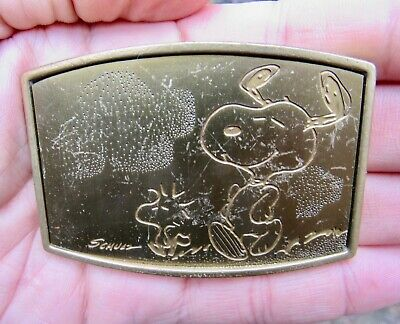 Vtg SNOOPY Belt Buckle ART Schulz Comics Peanuts Woodstock ODEN Brass RARE VG+