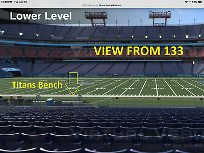 Tennessee Titans v New Orleans Saints 2 of 4 Tickets 133 Titans Bench Row AA 1