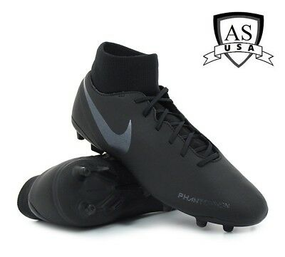 652428fff Nike Phantom VSN Club DF FG MG AJ6959-001 Triple Black Men s Soccer Cleats