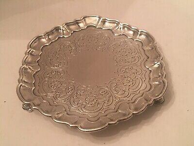 Antique 18TH Century Georgian Irish Sterling Silver Salver Tray 7 Inches 340 GMS