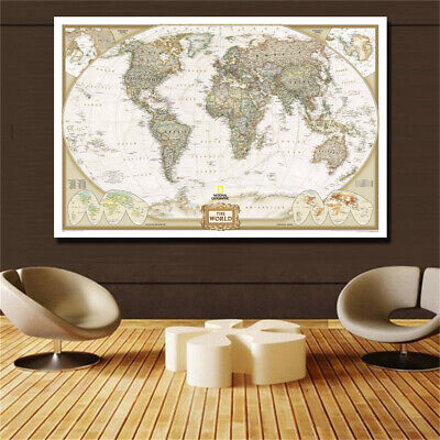 Large Vintage World Map Detailed Antique Poster Wall Retro 31*47in