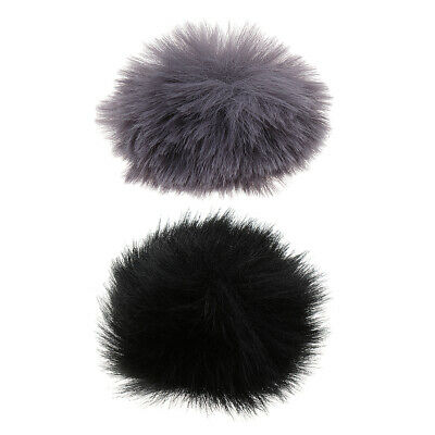 2pcs Microphone Outdoor Windscreen Wind Muff Fur for Lavalier Lapel Mic