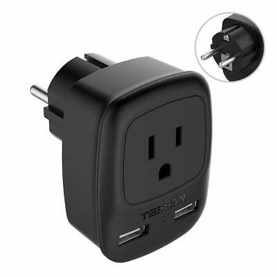 TESSAN Power Plug Adapter with 2 USB Ports for USA to Germany France Travel