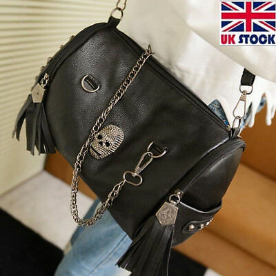 Men/'s Punk skull rivet cool Black Wallet  Leather Purse with Chain free shipW5