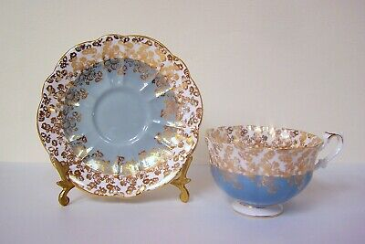 ROYAL ALBERT Cup & Saucer Cascade Series TURQUOISE GOLD Chintz Bone China