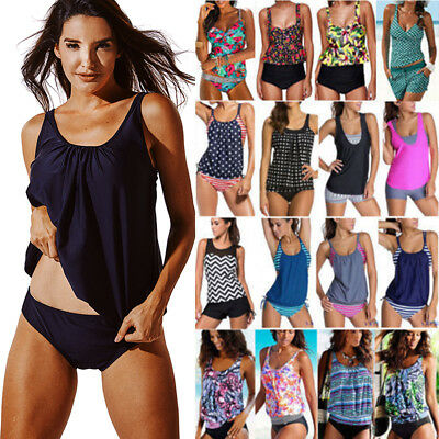 80340fb717 Womens Ladies Blouson Sporty Tankini Sets Swimwear Top+Short Plus Size  Swimsuits