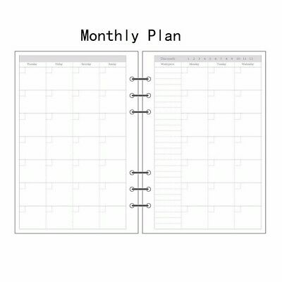 A7 Size Monthly Planner Diary Insert Refill Schedule Organiser Plan 45 Sheets