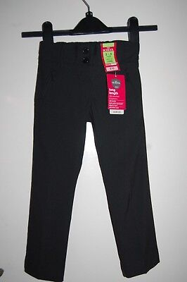 M&S Girls School Trousers Zip Pocket Adjust-a-hem Black Age 3-4 Years Long BNWT