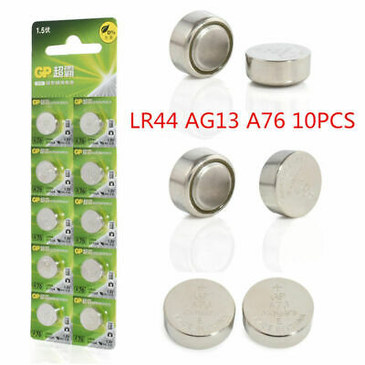 10pcs/set GP LR44 AG13 A76 SR66 1.5V Button Cell Coin Singel Battery Batteries