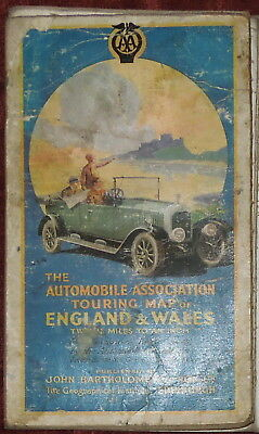 """Automobile Association 1"""":12 Miles Linen Backed Map Of England & Wales C. 1930"""
