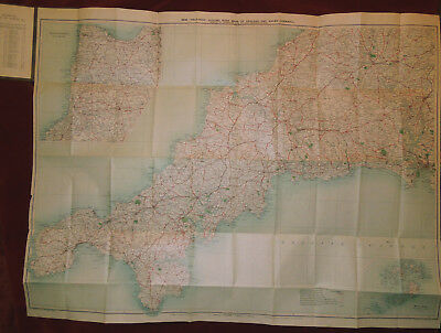 "Bacon's Motoring & Cycling 1/2"":1 Mile Map Of Cornwall - C. 1920"