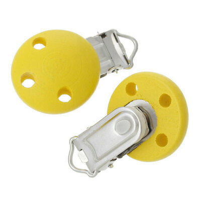 5Pcs 4.4 x 2.9cm Wood Home Baby Round Pacifier Clip Metal Holders 3 Hole