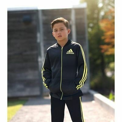 adidas Big Kids Boys' Future Flight Full Zip Track Jacket, Black/Solar Yellow