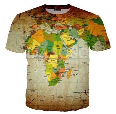 New 3D print World Map Mens/Womens Short Sleeve T-Shirt Casual Tops Tee 2019