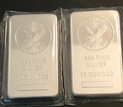 Lot Of2 -10 Oz - Sunshine Mint Silver Bar - .999 Fine Silver - In Mint Packaging