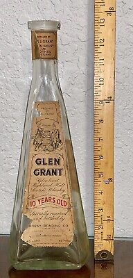 1940s Very Rare Vintage Glen Grant 10 Years Old Pyramid Whisky Whiskey Bottle