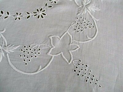Antique Tablecloth-White Work Hand Embrodiery-Irish Linen