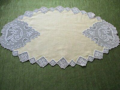 ANTIQUE OVAL TABLE CENTER-GOLF with SOFT ECRU HAND CROCHET