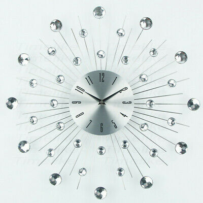 50cm Large Crystal Diamante Diamond Silver Wall Clock Modern Home Decor Sunburst