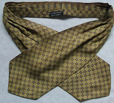 Cravat Tootal Vintage Mens ASCOT 1960s 1970s Retro GOLDEN CREAM GREY