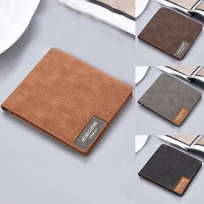 Mens Leather Slim Bifold Credit ID Card Holder Slim Purse C Billfold Wallet J9T2