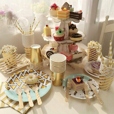 8/12x Party Tableware Set Disposable Birthday Gold Paper Plate Cup Wedding