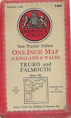 TRURO & FALMOUTH- Sheet 190 ORDNANCE SURVEY  One Inch Fold Out Vintage Map   B95