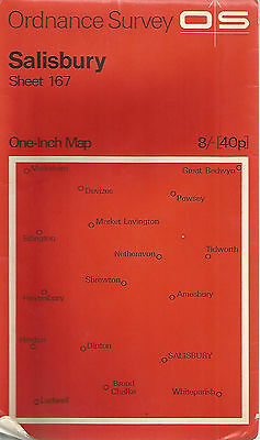 SALISBURY - Sheet 167 ORDNANCE SURVEY  One Inch Fold Out Vintage Map B106