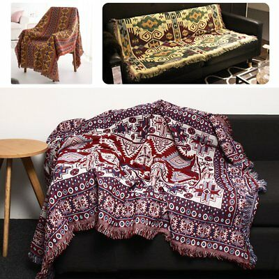 Large Bohemian Cotton Woven Sofa Bed Throw Blanket Chair Bedspread Settee