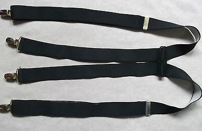 Braces Suspenders Mens Vintage CLIP ON 1970s 1980s PLAIN BLACK