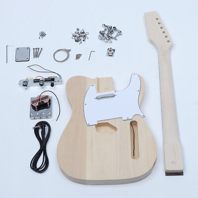 Style Unfinished DIY Electric Guitar Accessories Kit Beech Wood Body Maple