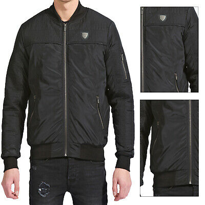 Fremont & Harris Collier Mens Quilted Detail Zip Up MA1 Padded Bomber Jacket