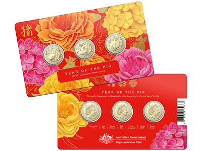2019 Year of the Pig $1 uncirculated three-coin set Limited to a mintage of 20,0