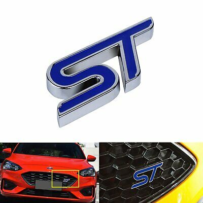 1pc Metal ST Grill Badge Grille Front Bumper Emblem For Ford Fiesta Focus Blue